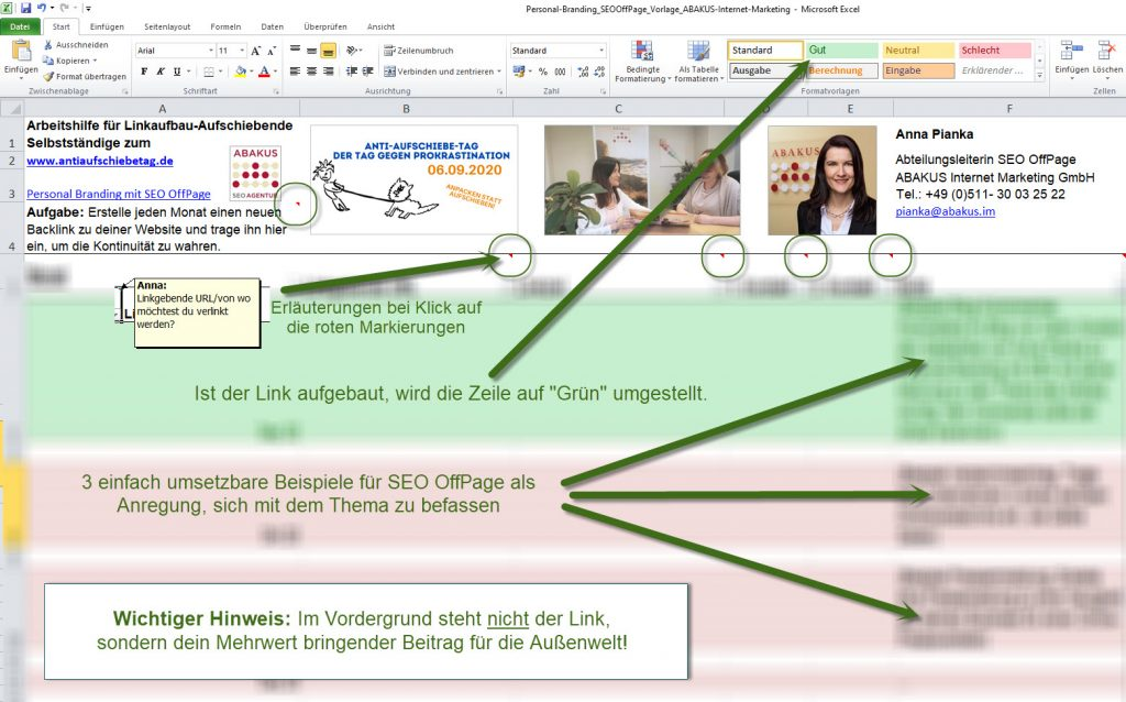 Personal Branding mit SEO Excel-Vorlage von Anna Pianka / ABAKUS Internet Marketing GmbH